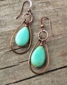 Turquoise jewelry, blue green turquoise earrings, copper hoop earrings / E024
