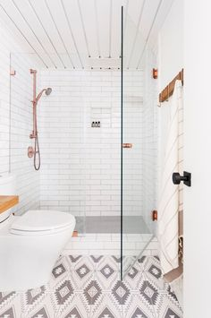 Looking for the perfect hand made tile floor? See our tips for finding the bathroom, kitchen, and entryway floor tile that's right for you. All White Bathroom, Copper Bathroom, Bathroom Floor Tiles, Tile Floor, Blue Velvet Chairs, Bathroom Renovations, Bathroom Ideas, Bathrooms, Bathroom Inspo