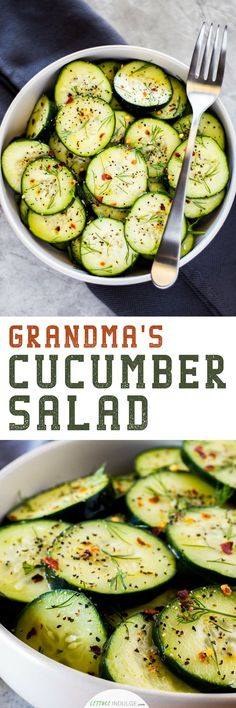 Simple as it may be, Grandma's Cucumber Salad recipe is a light, tangy and healthy dish that could easily pass as a delicious appetizer or precursor to dinner. The freshness of the dill combined with the heat from the red pepper flakes makes for a wild tasteful ride.