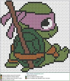 Cross Stitching, Cross Stitch Embroidery, Cross Stitch Patterns, Disney Crochet Patterns, Pixel Art Templates, Stitch Cartoon, Turtle Pattern, Crochet Cross, Cross Stitch Baby