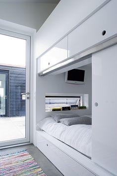 Sliding door bed drawer