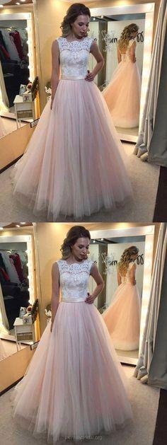 Long Prom Dresses Pink, Lace Prom Dresses 2018, Princesses Prom Dresses for Teens, Prom Dresses Simple #pinkdresses