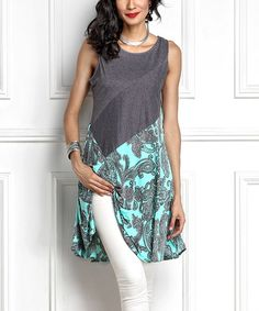Love this Blue Paisley Contrast Sleeveless Tunic on #zulily! #zulilyfinds
