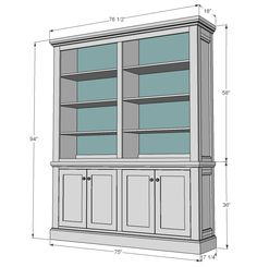 step by step plans to build a Restoration Hardware inspired hutch. Free plans from Ana- features large, deep shelves, decorative sides and crown moulding. Diy Furniture Plans, Woodworking Furniture, Plywood Furniture, Diy Woodworking, Furniture Projects, Home Projects, Woodworking Classes, Popular Woodworking, Woodworking Videos
