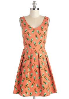 Amazing in Ananas Dress. Showcase your favorite tropical snack in this cotton, pineapple-printed A-line! #orange #modcloth