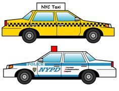 New York City - Taxi and Police car  - download template