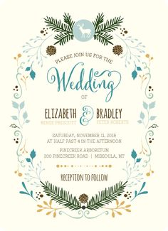Whimsical Woodland Foliage Wedding Invitation - Print, Download or Send Online