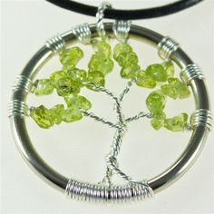 Peridot Tree of Life pendant with leather necklace  $35.00