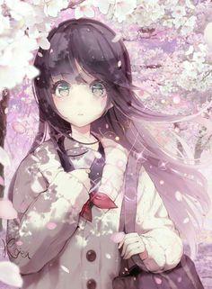 "anime girl, original art by ""hoshizaki reita Anime School Girl, Manga Anime Girl, Anime Girl Drawings, Anime Neko, Anime Artwork, Kawaii Anime Girl, Anime Girls, Anime Angel Girl, Pretty Anime Girl"