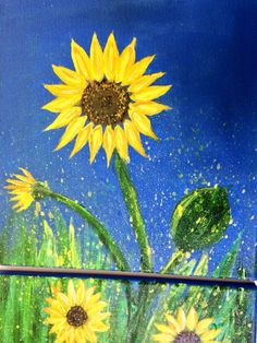 Sunflower painting on 2 panel canvas. Original by ColoradoColors, $69.00