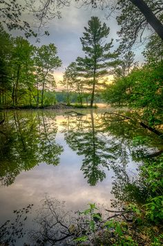 Beaver Dam Reflection Pond at Ashland State Park, Ashland, MA by Tom Sloan on Beautiful Photos Of Nature, Nature Pictures, Beautiful World, Beautiful Landscapes, Beautiful Places, Sunset Landscape, Landscape Photos, Landscape Art, Landscape Photography