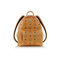 d2f9f9dc MCM Designer Handbags Cognac Mini Stark Backpack (2,195 AED) ❤ liked on  Polyvore featuring bags, backpacks, cognac, handbags, zip bag, day pack  backpack, ...