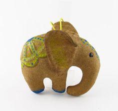 Elephant primitive handmade toy for home decor from by velenatoys