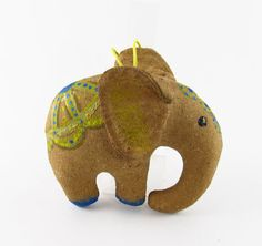 Elephant primitive handmade toy for home decor from by velenatoys