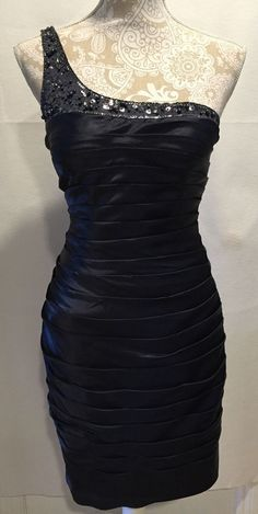 Adrianna Papell Sequin Ruched Sheath Black Cocktail Party Dress Size 4 MSRP $298 #AdriannaPapell #Sheath #Cocktailformal