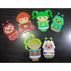 Rainbow Brite hama beads by hae_urusai Melty Bead Patterns, Pearler Bead Patterns, Perler Patterns, Beading Patterns, Hama Beads, Perler Bead Art, Fuse Beads, Cross Stitch Floss, Pixel Crochet