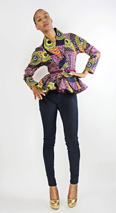 The Patricia- African Print 100% Holland Wax Cotton/Metallic Fabric Wrap Cardigan Jacket.  via Etsy.