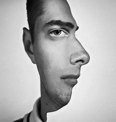 What is the authors message in his use of space in this portrait? Does this represent how everyone sees the world differently? Self Portrait by Erwin Blumenfeld Photomontage, Two Faces, Small Faces, Foto Art, Photo Manipulation, Belle Photo, Mind Blown, Trippy, White Photography