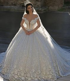 Cheap bridal dress, Buy Quality sequin wedding dress directly from China wedding dress Suppliers: Vestido De Noiva Lace Sequined Wedding Dress 2017 Off The Shoulder Sweep Train Applique Wedding Gowns 2017 Bridal Dresses Luxury Wedding Dress, Princess Wedding Dresses, Dream Wedding Dresses, Bridal Dresses, Wedding Gowns, Princess Bride Dress, Wedding Ceremony, Queen Wedding Dress, Wedding Dressses