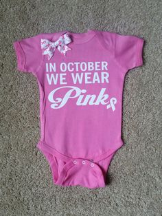 In October We Wear Pink - Girls Onesie - Body Suit - Glitter - Onesie – Ruffles with Love