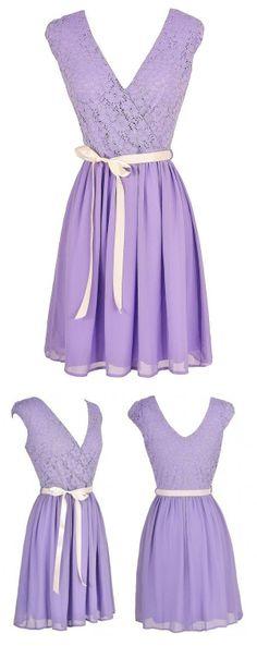 So cute! Cute Lavender Lace Dress, Purple Lace and Chiffon Dress, Cute Bridesmaid Dress.