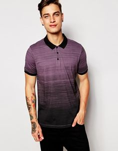 ASOS Polo Shirt With Dip Dye & Stripe