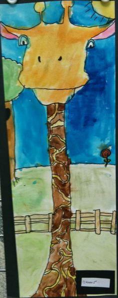Fun art project for kids -- draw a giraffe with a huge long neck.