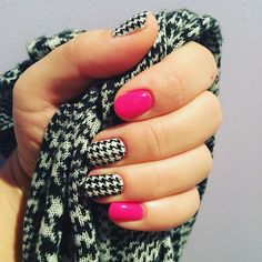 Houndtooth winter nails