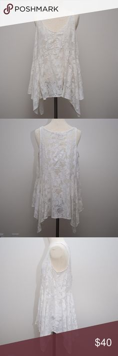 Anthropologie Vanessa Virginia Lace Tank SZ L Elegant asymmetrical ivory lace tank from Anthropologie brand Vanessa Virginia. Size Large. Reasonable offers always welcome :) Anthropologie Tops Tank Tops