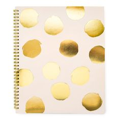 Color pale pink + gold foil Page Type lined Number of Pages 100 Dimensions 11 x 9 inches Our Large Painted Dot Notebook in pink in spiral bound with big gold foil polka dots on a pale pink background.