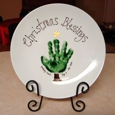DIY:Hand Print Christmas Plate ~ Dollar store plates by angela