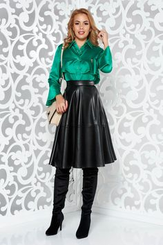 2515b9d52f Leather midi skirts · Bluza dama MissQ verde eleganta cu croi larg din  material satinat cu volanase Satin Bluse,