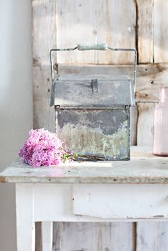 antique zinc caddy from France & lilacs