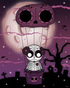 """Dia de los Muertos"" - A little unluckable flying high above a cemetery celebrating Dia de los Muertos. #unluckables #monster #monsterart #creatureart #creature #voodoodoll #voodoo #creepycute #creepycuteart #kristiesilva #dayofthedead #diadelosmuertos #skulls #bats #lowbrow #lowbrowart #bigeyes #bigeyedart #bigeyeart #digitalart #digitalpainting #digital #art #painting"
