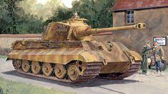 1944 Francia Königstiger torre Henschel con Zimmerit s Pz Abt 503 - Ron Volstad -Dragon Tiger Ii, Luftwaffe, War Thunder, Tiger Tank, Armored Fighting Vehicle, Ww2 Tanks, German Army, Modern Warfare, Military Art