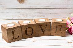 Kerze-Halter Holz Love Sweet Table-Zeichen Decor Hochzeit Kerzen Halter Holz Inhaber Geschenk für den Herrn Frau Startseite Tischdekoration