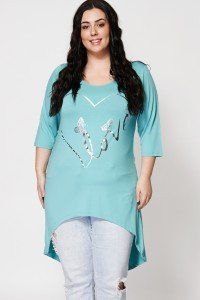 Butterfly And Love Print Dip Hem Top