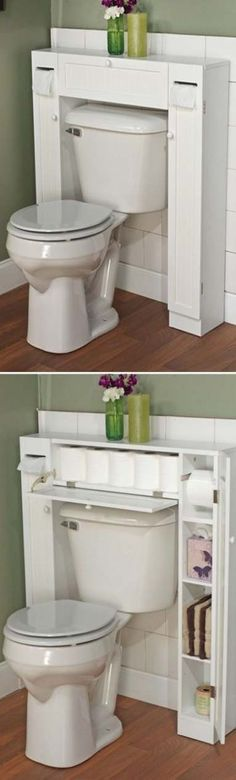 Bathroom Space Saver - clever design for storage Small Bathroom Storage, Small Storage, Bathroom Organization, Bathroom Ideas, Storage Ideas, Extra Storage, Storage Spaces, Bathroom Hacks, Toilet Storage