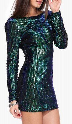 Ariele Sequin Dress in Jade