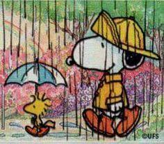 Just a walkin in the rain - Woodstock & Snoopy
