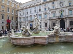 Piazza Navona, Lion Sculpture, Statue, Mansions, House Styles, Building, Places, Travel, Rome