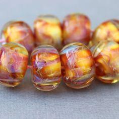 Borosilicate Beads - Yellow Orange Pink Lampwork Beads