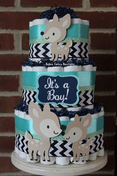 3 Tier Navy Teal and Mint Woodland Deer Boys di BabeeCakesBoutique