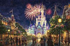 Disney Art & Collectibles - Thomas Kinkade Studios portfolio of Disney artwork captures the beauty of Disney fans' favorite movies and theme parks. Each Thomas Kinkade Studios Disney movie Thomas Kinkade Disney, Thomas Kinkade Art, Walt Disney, Disney Love, Disney Parks, Disneyland Parks, Disneyland Castle, Disney Stuff, Disney Images