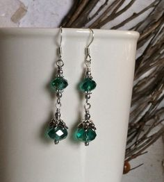 Teal Crystal Dangle Earrings with Teal Faceted by SmockandStone, $13.00