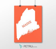 Maine print - Maine art - Maine poster - Maine wall art - Maine printable poster - Maine map - Maine Sunset art - Instant download by Exit8Creatives on Etsy Sunset Art, Maine, Paper Crafts, Printables, Posters, Wall Art, Unique Jewelry, Creative, Handmade Gifts