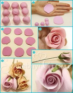 fondant rose tutorial - I would use modeling chocolate instead Fondant Flower Tutorial, Fondant Flowers, Sugar Flowers, Polymer Clay Flowers, Fimo Clay, Polymer Clay Crafts, Fondant Figures, Fondant Cakes, Fondant Baby