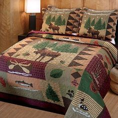 Greenland Home Fashions Moose Lodge Bedding - Best Sales and Prices Online! Home Decorating Company has Greenland Home Fashions Moose Lodge Bedding Queen Size Quilt Sets, King Quilt Sets, Queen Quilt, Rustic Quilts, Rustic Bedding, Rustic Crib, Primitive Bedding, Country Quilts, Rustic Room