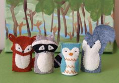 Woodland Friends Finger Puppet Set. $32.00, via Etsy....pretty sure I could diy these, because I want them for L's stocking.