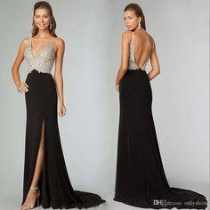 2015 New Sexy Women Long Prom Dresses With Sheath High Waist Black Spandex Beading Split SweepTrain Evening Party Gown Vestidos De Fiesta
